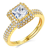 Halo 1.25 CT Princess-Cut & Round Side CZ Wedding Ring Set in 14K Yellow Gold