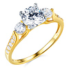 3-Stone Trellis Round-Cut CZ Engagement Ring in Two-Tone 14K Yellow Gold 1.5ctw