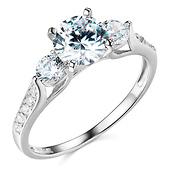 3-Stone Trellis Round-Cut CZ Engagement Ring in 14K White Gold 1.5ctw