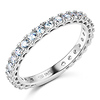 2.5mm Scallop Round-Cut CZ Eternity Ring Wedding Band in 14K White Gold 0.75ctw