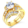Contour 1.25CT Round-Cut with Side Stones CZ Engagement Ring Set in 14K Yellow Gold 2ctw