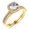 Square Halo 1.25CT Round-Cut CZ Engagement Ring Set in 14K Yellow Gold