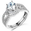 Halo Split Shank 1.25CT Round CZ Engagement Ring Set in 14K White Gold