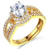 Halo Split Shank 1.25CT Round CZ Engagement Ring Set in 14K Yellow Gold