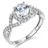 Woven 1.25CT Round-Cut Halo CZ Engagement Ring in 14K White Gold