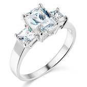 3-Stone Basket Radiant & Princess-Cut CZ Engagement Ring in 14K White Gold 2.25ctw