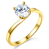 Bypass 1-CT Round-Cut CZ Engagement Ring Solitaire in 14K Yellow Gold