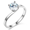 Bypass 1-CT Round-Cut CZ Engagement Ring Solitaire in 14K White Gold