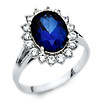 3-CT Blue Oval-Cut Halo CZ Promise Engagement Ring in 14K White Gold
