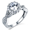 Woven Criss-Cross Halo 1-CT Round-Cut CZ Engagement Ring in 14K White Gold