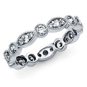 Vintage-Style Milgrain CZ Eternity Ring Wedding Band in 14K White Gold 0.85ctw