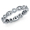 4mm Vintage-Style Milgrain CZ Eternity Ring Wedding Band in 14K White Gold 0.85ctw