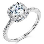Square Halo 1.25CT Round-Cut CZ Engagement Ring in 14K White Gold