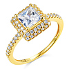Halo 1.25 CT Princess-Cut & Round Side CZ Engagement Ring in 14K Yellow Gold