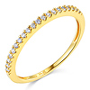 20-Stone Half Eternity Round-Cut CZ Wedding Band in 14K Yellow Gold