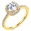 Square Halo 1.25CT Round-Cut CZ Engagement Ring in 14K Yellow Gold