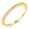 22-Stone Half Eternity Round-Cut Cubic Zirconia Wedding Band in 14K Yellow Gold
