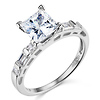 Modern 1.25CT Princess & Side Baguette CZ Engagement Ring in 14K White Gold