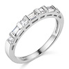 2.5mm Modern Princess & Baguette-Cut Cubic Zirconia CZ Wedding Band in 14K White Gold