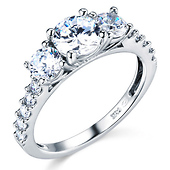3-Stone Round-Cut with Side Stones CZ Engagement Ring in 14K White Gold 1.75ctw