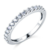 2mm Half Eternity Scalloped 15-Stone Round-Cut CZ Wedding Band in 14K White Gold