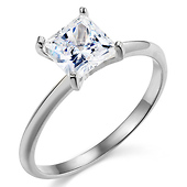 1.25CT Knife-Edge Princess-Cut CZ Engagement Ring Solitaire in 14K White Gold