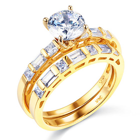 1-CT Round-Cut & Side Baguette CZ Wedding Ring Set in 14K Yellow Gold