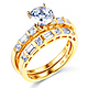 1-CT Round-Cut & Side Baguette CZ Wedding Ring Set in 14K Yellow Gold thumb 0
