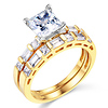 1.25 CT Princess-Cut & Side Baguette CZ Wedding Ring Set in 14K Yellow Gold