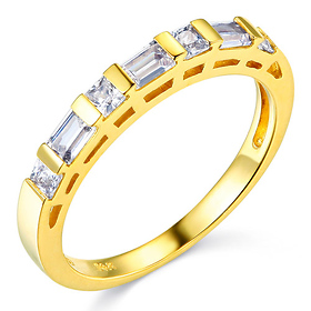 2.5mm Modern Baguette & Princess-Cut CZ Wedding Band in 14K Yellow Gold