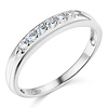 6-Stone Grooved Round-Cut Cubic Zirconia Wedding Band in 14K White Gold