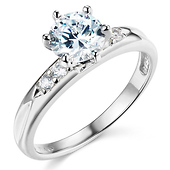1-CT Round-Cut with Pave Side Stones CZ Engagement Ring in 14K White Gold