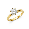 1.25 CT Round-Cut Peg Head Cathedral CZ Engagement Ring in 14K Yellow Gold
