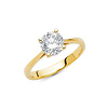 Basket-Set Round-Cut 1.25-CT CZ Engagement Ring in 14K Yellow Gold