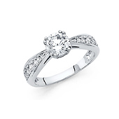 1-CT Double-Prong Basket Set Round-Cut CZ Engagement Ring in 14K White Gold
