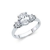 1.25 CT 3-Stone Trellis Oval-Cut CZ Engagement Ring in 14K White Gold