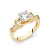 1.25 CT Round-Cut 4-Prong High Peg Head with Baguette CZ Engagement Ring in 14K Yellow Gold