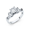 1.25 CT Round-Cut 4-Prong High Peg Head with Baguette CZ Engagement Ring in 14K White Gold