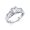 1.25-CT Double-Prong Peg Head Round with Baguette CZ Wedding Ring in 14K White Gold
