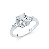 1.25CT 3-Stone Radiant & Triangle-Cut Basket Set CZ Engagement Ring in 14K White Gold