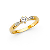 6-Prong Basekt Set & Pave CZ Engagement Ring in 14K Yellow Gold