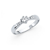 6-Prong Basekt Set & Pave CZ Engagement Ring in 14K White Gold