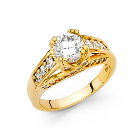 1.25CT Woven Double-Prong & Pave Round-Cut CZ Engagement Ring in 14K Yellow Gold