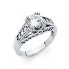 1.25CT Woven Double-Prong & Pave Round-Cut CZ Engagement Ring in 14K White Gold