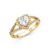 Split Shank Halo 1-CT Heart-Cut CZ Engagement Ring in 14K Yellow Gold