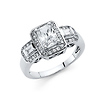 1.25CT Halo Radiant-Cut with Round & Baguette Sides CZ Engagement Ring in 14K White Gold
