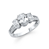 1.25CT Three-Stone Basket-Set Oval & Round-Cut CZ Engagement Ring in 14K White Gold
