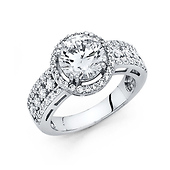 2.75 CT Halo Round & Pave Princess-Cut CZ Wedding Ring in 14K White Gold