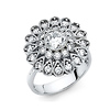 Flower Design Round-Cut CZ Engagement Ring in 14K White Gold