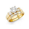 4-Prong Round & Bar Side Baguette 1.25CT CZ Engagement Ring Set in 14K Yellow Gold